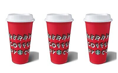 Starbucks 2019 Holiday Reusable Red Hot Cup Grande 16 oz Plastic Limited Edition
