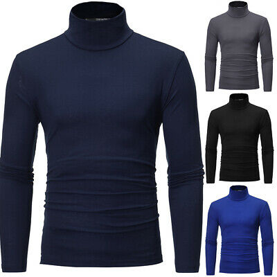 Men Thermal High Collar Turtle Neck Pullover Long Sleeve Sweater Stretch T-Shirt