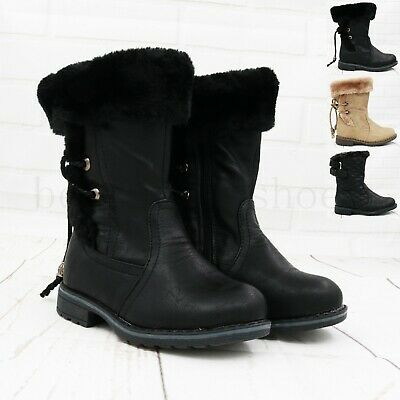 New Kids Girls Flat Quilted Infant Fur Mid Calf School Winter Boots Uk Size 3-8