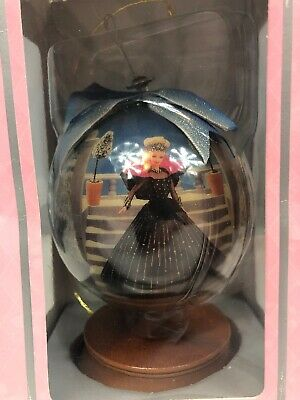 """1998 Barbie Holiday Christmas Decoupage Ornament 4"""" Globe Wooden Stand"""