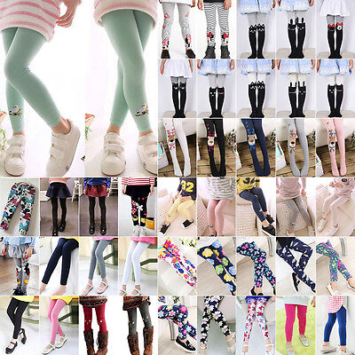 Toddler Kid Girl Baby Cottons Pants Stretch Warm Leggings Lined Tight Trousers