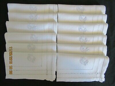"16/"" Square 11 Antique Vintage  French Luncheon Napkins Monogram AG  Approx"