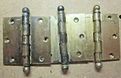 """Lot 3 McKinney Antique Hinges 3-1/2"""" Square Ball Tips Brass Plated Mortise Door"""