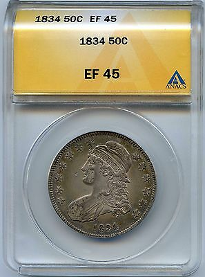 1834 50C Capped Bust Silver Half Dollar. ANACS Graded EF 45. Lot #2098