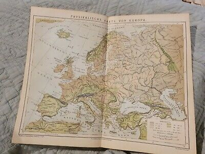 Physical Map of Europe - Antique Book Page - c.1885 - German Text