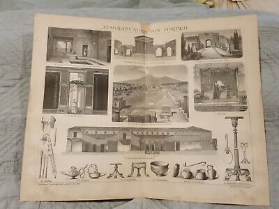 Excavations of Pompeii - Antique Book Page - c.1885 - German Text