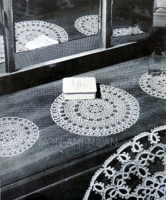 Vtg 40s Wartime TATTING PATTERN How To Make PRETTY LACE CHEVAL TABLE MATS Doilys