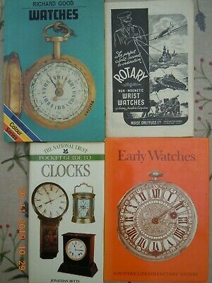 4 x BOOKS ON WATCHES AND CLOCKS Horology Early Watches, Everybody's Watches etc