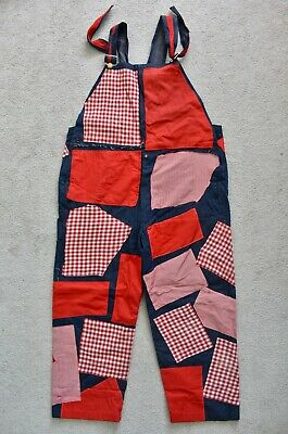 Vtg 70s Patched Denim Work Overalls Bib Dungarees Costume Theatre Panto Large