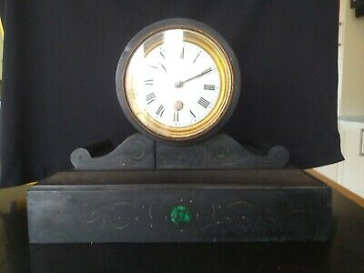 French Victorian Drum Head Mantle Clock, Marble / Slate