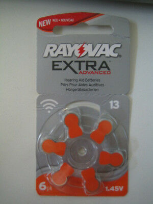 6 piles auditives Rayovac 13 Extra advanced pour appareils auditifs