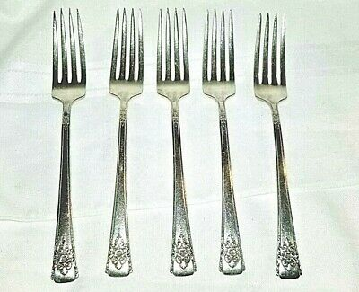 5 WM Rogers Mountain Rose Forks Silverware Silver Plate Flatware Set of 5