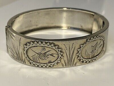 Stunning!! Antique Solid Sterling Silver Decorative Swallow  Bangle 20.4g