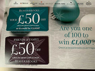 Beaverbrooks Gift Card / Voucher.  Two £50 Cards