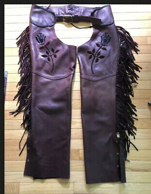 Leather Fringed Western Chaps Cowboy Cowgirl Farrier motorcycle vintage Floral