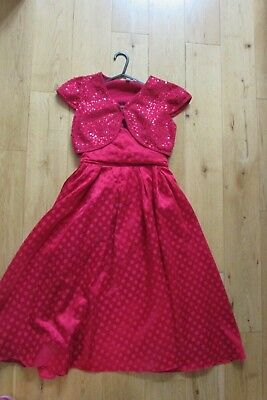 Girls-Monsoon - Red Dress And Jacket/ Shrug. Age 10-12.Party / Weddings. Vgc.