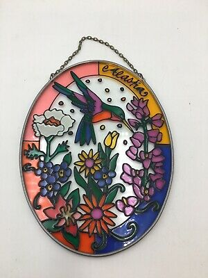 Alaska Hummingbird Hand Painted Glass Sun Catcher - 6.5""
