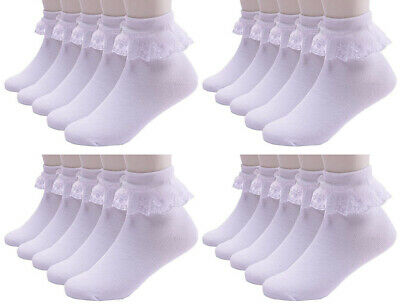 Ladies Women Girls Kids Extra Soft Cotton Socks School Frilly Lace Ankle Socks