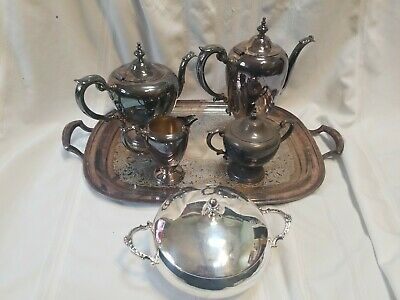 Antique Wallace 6 pc Silverplate Coffee Tea Set Tray Bowl Cream Sugar VERY OLD