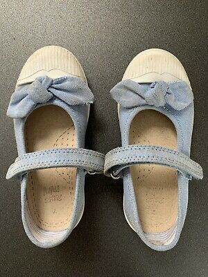 Girls Light Blue Shoes With Bow. Size 7 From Next.