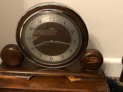 Art Deco Metamec Wooden Mantle Clock , Bakerlite Back , Spares & Repairs