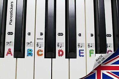 Stickers for 61 key Piano or Keyboard 36 white key mini monster clear stickers