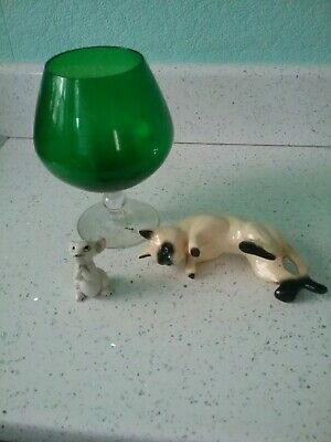 Vintage 1960's Large Cat and Mouse Hand Blown Brandy Glass Ornament in Green Gla