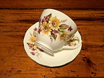 "Vintage Tea Cup & Saucer Duo Bone China Purple Yellow Flowers Duchess ""Susie"" VG"