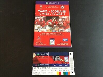 Wales V Scotland Rugby Union Six Nations Programme & Rare Match Ticket