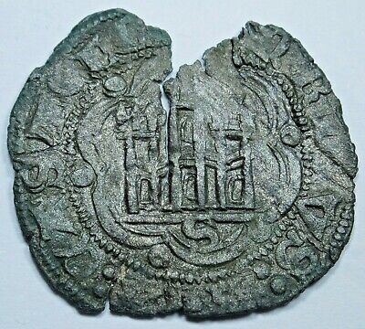 Spain 1200s Ancient Alfonso Noven 13th Century Medieval Old Antique Spanish Coin