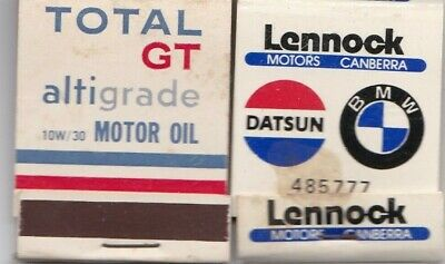 Vintage Matchbook advertising BMW Datsun Total Oil