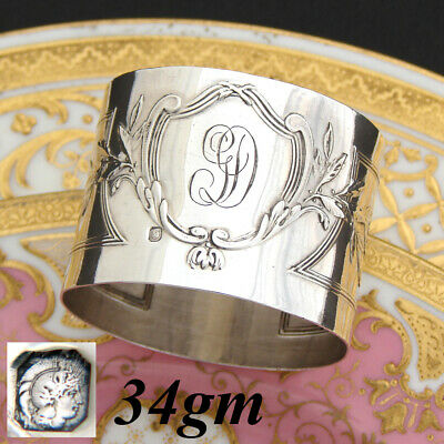 """Antique French Sterling Silver 2"""" Napkin Ring, Elegant Louis XVI or Empire"""