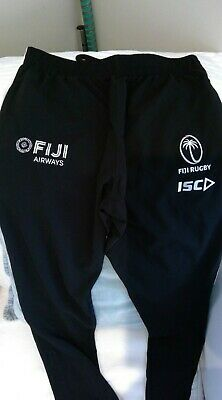 Fiji Rugby Union Men's Black/White ISC Tracksuit Pants Large New with Tags