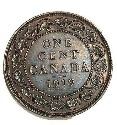 1919 Canada 1 Cent One Large Cent Penny Coin, free combined shipping. 512787