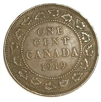 1919 Canada 1 Cent One Large Cent Penny Coin, free combined shipping. 512811