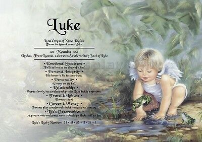 Personalised Gift - First Name Meaning Certificate - Angel Boy
