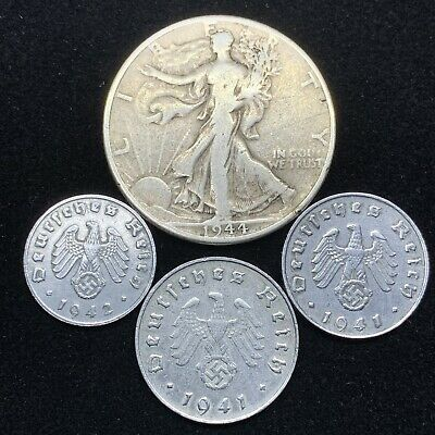 Nazi Coin Lot 3 WW2 Germany Zinc Coins and 1 Silver Walking Liberty Half Dollar