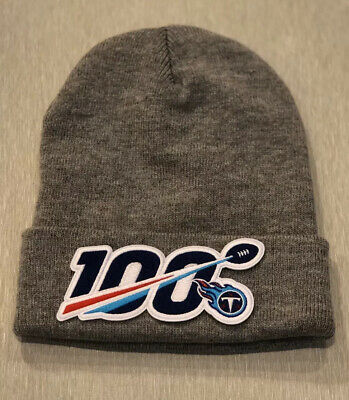 NFL 100 Seasons 100th Years TENNESSEE TITANS Beanie Toboggan Patch Style Gray