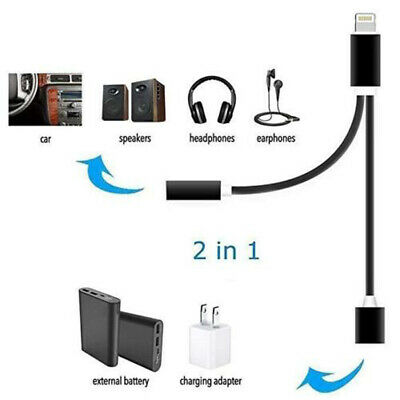 2 in 1 Lightning Charger Adapter 3.5mm Headphone Audio Jack Cable iPhone XS XR 8
