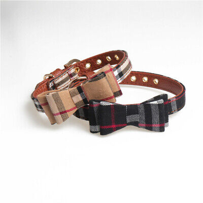 Plaid Dog Cat Collar - Pet Bowtie Pu Leather Adjustable Gold Buckle Luxury