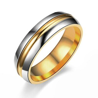 316L Stainless Steel Wedding Band Men Womens Gold Plating Couple Rings Size 6-10