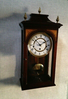 Committi Regency Style 8 Day Chime Silent Inlay Brass Finial Wall Clock