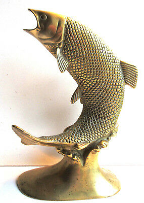 French Fish Statue, Golden Bronze Sculpture: Salmon jumping on the wave