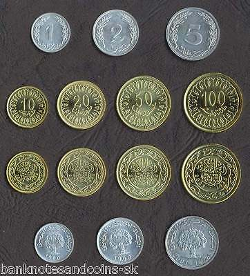 TUNISIA COMPLETE FULL COIN SET 1+2+5+10+20+50+100 Millim 1960-2007 UNC LOT of 7
