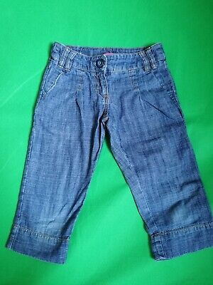 Next Girls Cropped Legged Blue Denim Trousers Jeans 6 Years excellent condition