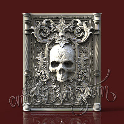 3D Model STL for CNC Router Artcam Aspire Skull Victorian Style Cut3D Vcarve