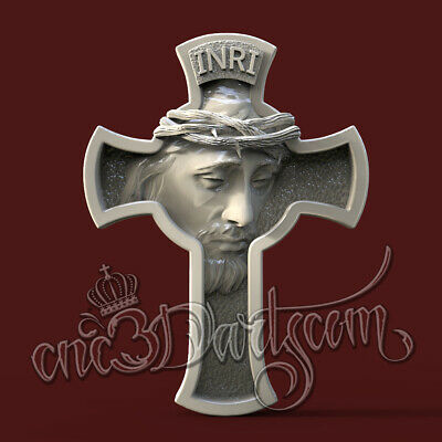 3D Model STL for CNC Router Artcam Aspire Religion Jesus Cross Cut3D Vcarve