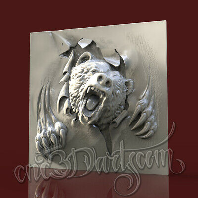 3D Model STL for CNC Router Artcam Aspire Angry Bear Panel Cut3D Vcarve