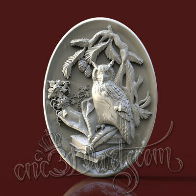 3D STL Model Owl  Panel CNC Router Carving Machine Artcam aspire Cut3D Vcarve