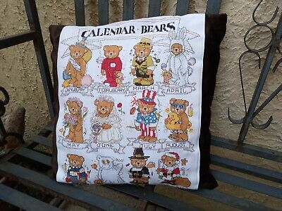 Calender bears calendar cross stitch cushion. New.
